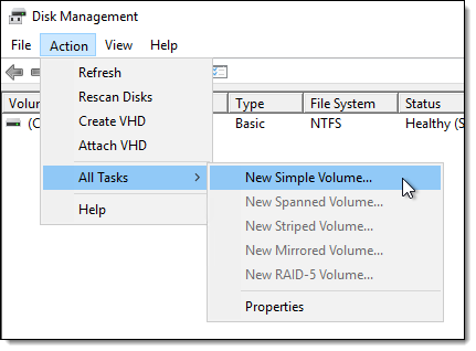 Begin the New Simple Volume wizard using the Action menu