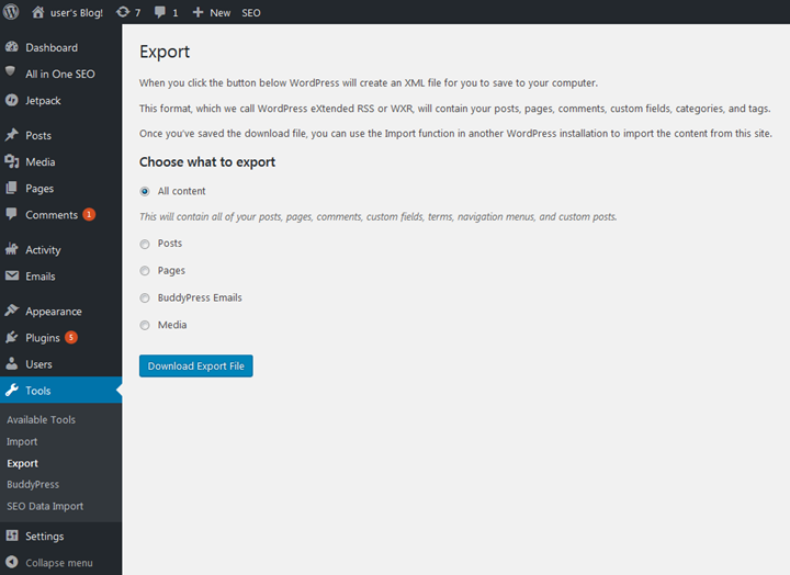 Export your WordPress blog using the export tools