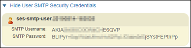 SMTP security credentials in the Amazon SES console.
