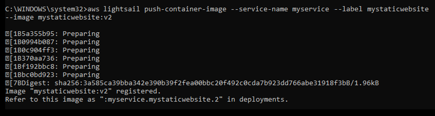 Docker container image pushed to a Lightsail container service