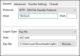 SFTP configuration in FileZilla.