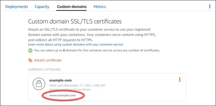 Custom domain certificates for a container service in the Lightsail  console