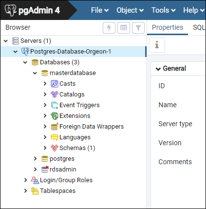 pgAdmin workspace