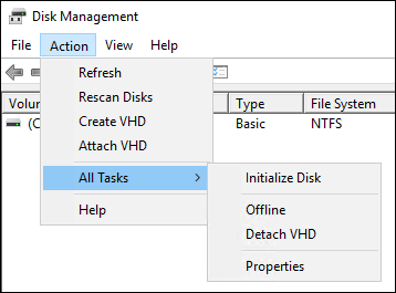 Initialize the block storage disk using the Action menu