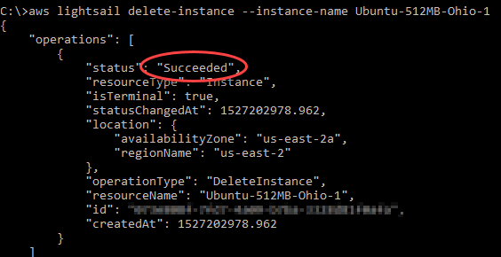 AWS CLI output for Lightsail delete-instance operation.