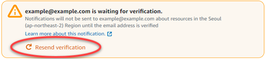 Resend email verification in the Lightsail console.