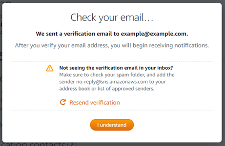 Email verification prompt after adding an email notification contacts in the  Lightsail console.