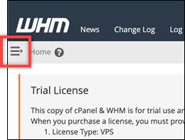 WHM navigation menu icon