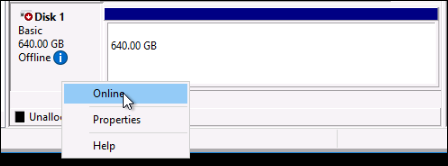 Offline disk on a Windows instance.