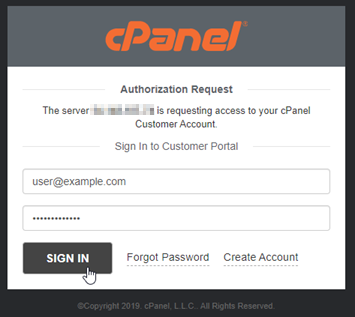 cPanel authorization request