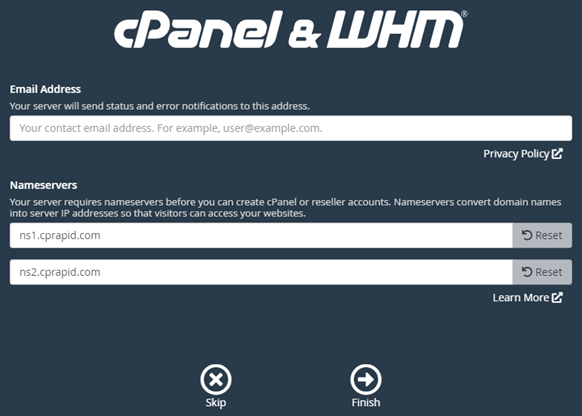 cPanel email address and nameservers configuration