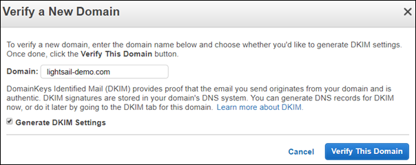 Verify a new domain in the Amazon SES console.