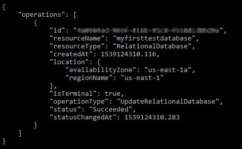 Database preferred maintenance window update result.