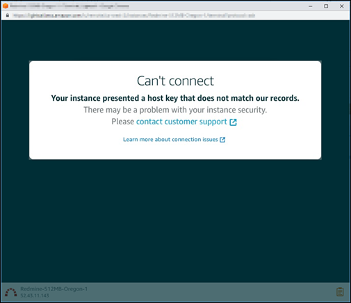 Host key or certificate mismatch error for the Lightsail browser-based SSH or RDP  client.