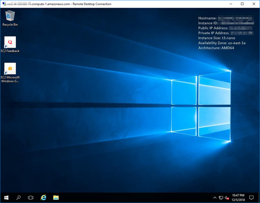Microsoft Remote Desktop Connection connected to instance.