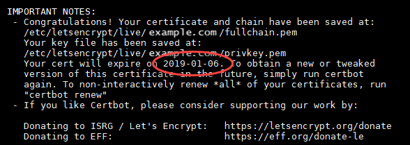 Let's Encrypt certificate renewal date.