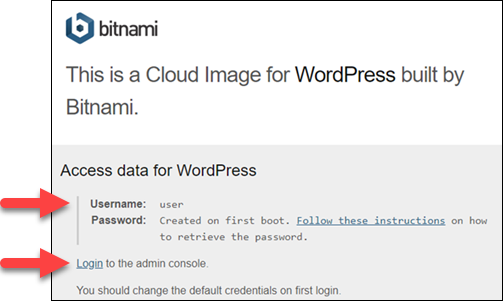 Bitnami application information page.