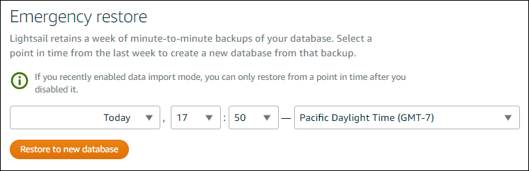 Creating a database from a point-in-time backup