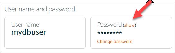Show database password