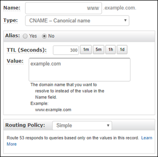 Canonical name record example in a Route 53 hosted zone.