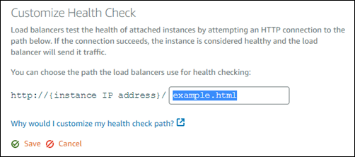 Customize the health check path