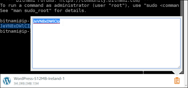 Browser-based SSH client clipboard text box.