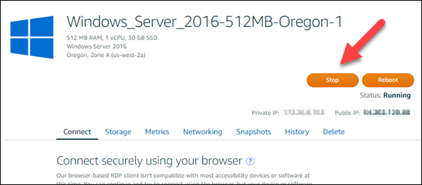 Stop your Windows Server instance before creating a snapshot.