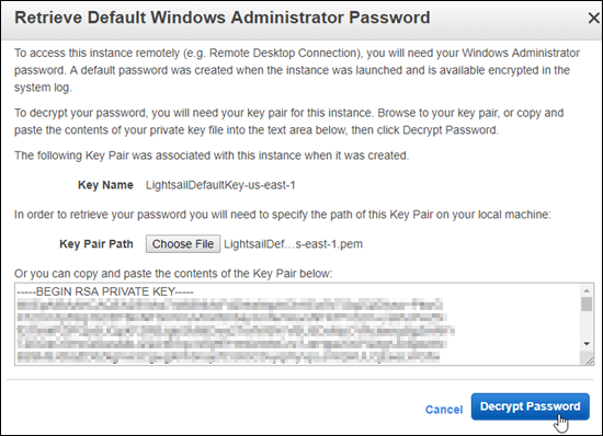 Decrypting the Windows default administrator password in the Amazon EC2  console.