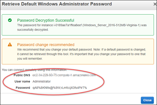 Decrypted Windows default administrator password in the Amazon EC2 console.