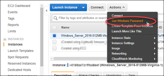 Getting the Windows Server default administrator password in the Amazon EC2  console.