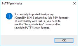 PuTTY Key Generator notice.