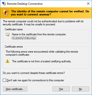 Microsoft Remote Desktop Connection security prompt.