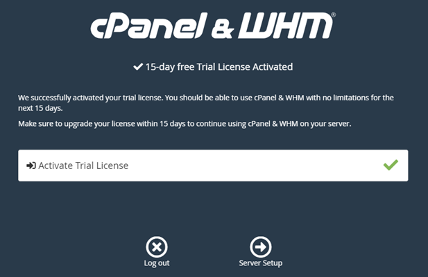 cPanel trial license confirmation