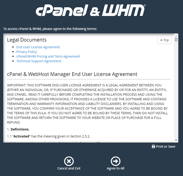 cPanel & WHM terms