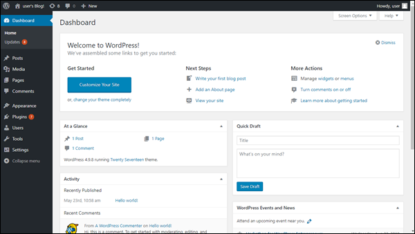 Successful login to the WordPress Dashboard