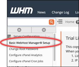 Basic WebHost Manager Setup