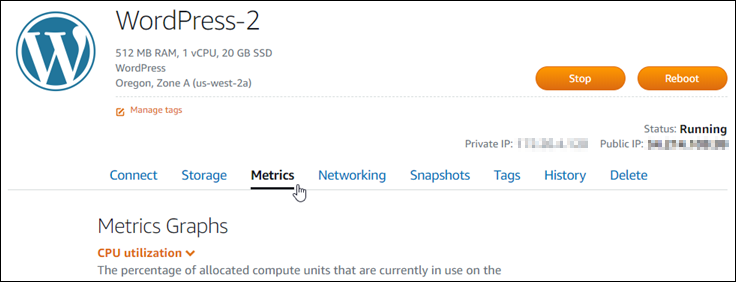 Metrics tab in the instance management page