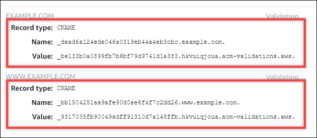 Records to validate domain ownership for a Lightsail SSL/TLS  certificate.
