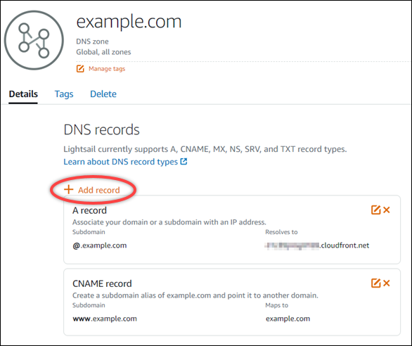 Add record to Lightsail DNS zone