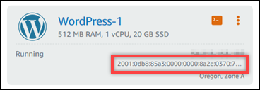 Instance IPv6 address in the Lightsail home page.