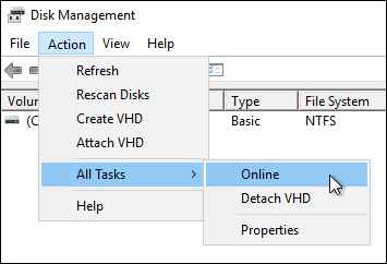 Bring the block storage disk online using the Action menu