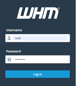 WHM sign in page