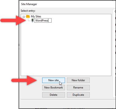 New site configuration in FileZilla.