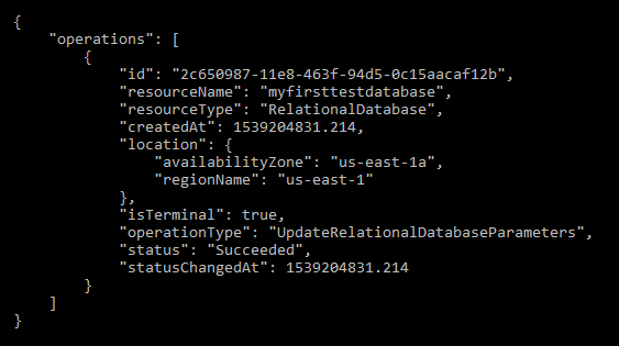 Change relational database parameters result