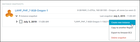 Create new resource from a snapshot in the Lightsail console.
