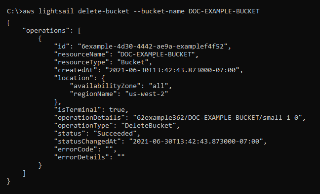 Result of the delete bucket request