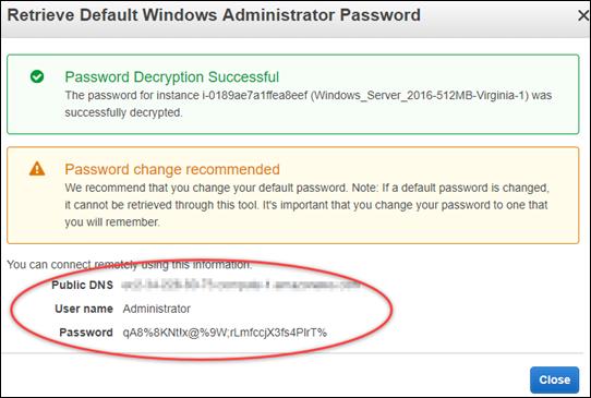 Decrypted Windows default administrator password in the Amazon EC2 console.