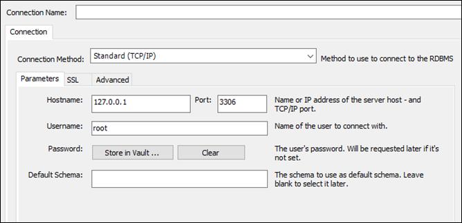 MySQL Workbench connection configuration
