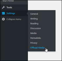 Wordpress dashboard settings.