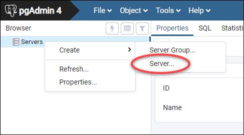 pgAdmin server configuration